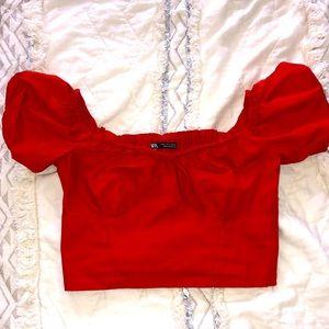 ZARA red crop top